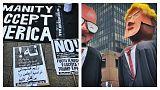 راهپیمایی در بروکسل در آستانه نشست ناتو؛ «ترامپ جای تو اینجا نیست»