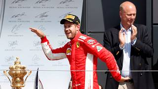 Sebastian Vettel no final do Grande Prémio de Silverstone