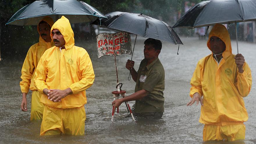 Monsoon rains flood India's streets in Mumbai