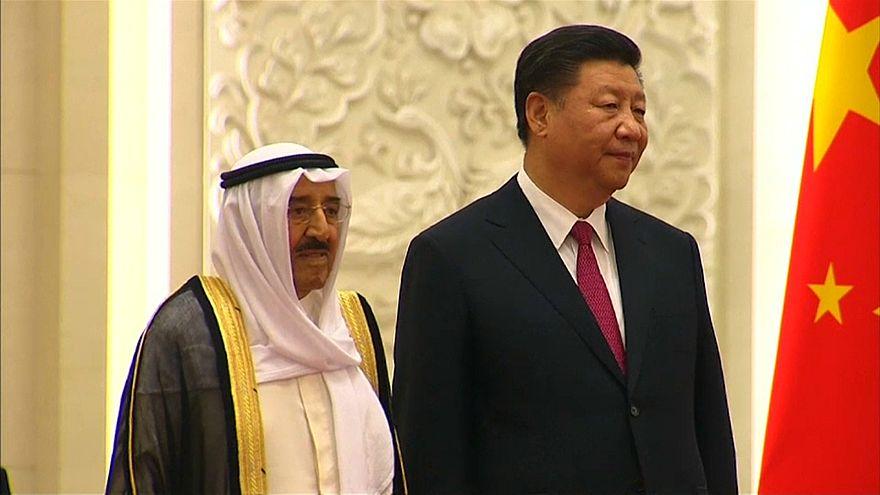 الرئيس الصيني مع الشيخ صباح الأحمد