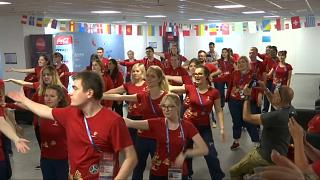 World Cup volunteers shimmy in flash mob and join pitch on Red Square