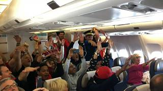 Belgian fans raise the roof on flight to World Cup game in St Petersburg