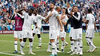French players celebrate their quarter final victory