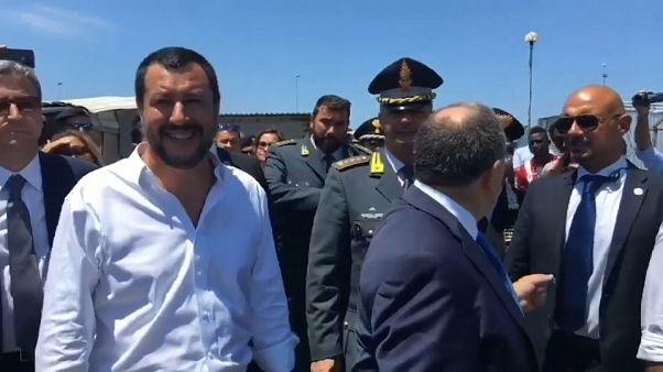 Italy's anti-immigrant interior minister visits migrant camp