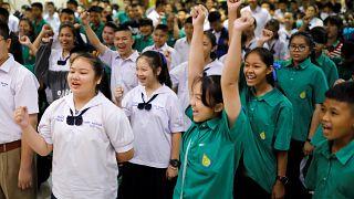 المدارس التايلاندية تحتفل بإنقاذ أطفال الكهف