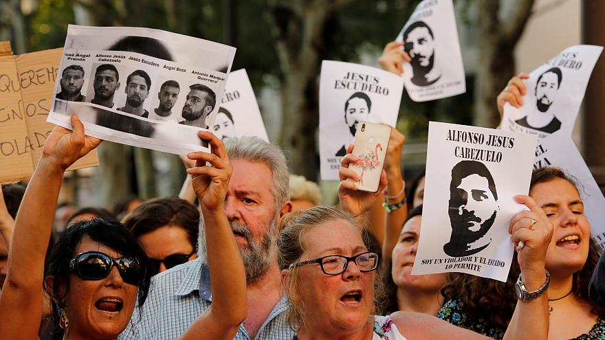 """Spaniards protest the release on bail of 5 men known as the """"Wolf Pack"""""""