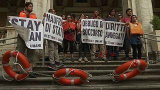Activistas italianos protestan contra las muertes en el Mediterráneo