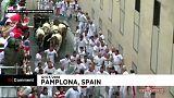 La course folle des taureaux de Pampelune