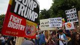 تظاهرات همزمان با ورود دونالد ترامپ به لندن