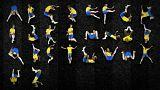 حروف الفبایی که با ژستِ افتادنهای نیمار ساخته شد