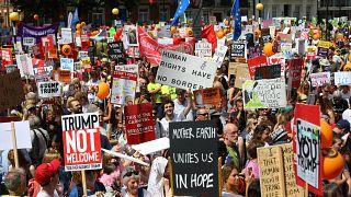Manifestaciones en Londres para condenar la visita de Donald Trump