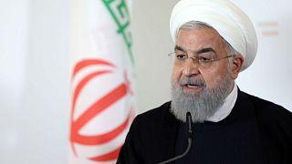 الرئيس الإيراني حسن روحاني خلال مؤتمر صحفي في فيينا يوم 4 يوليو تموز 2018.