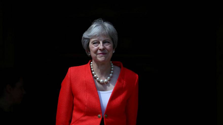 رئيسة وزراء بريطانيا تيريزا ماي في تشاكرز يوم 13 يوليو تموز 2018.