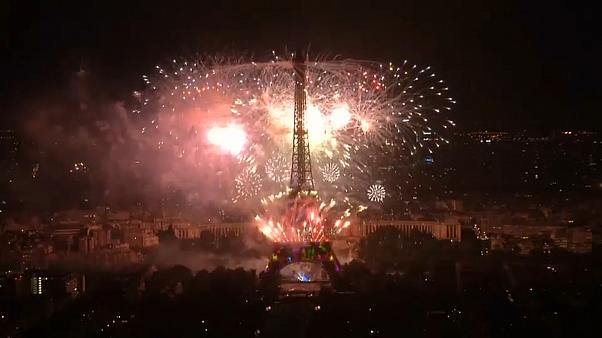 Fireworks at Eiffel Tower celebrate Bastille Day
