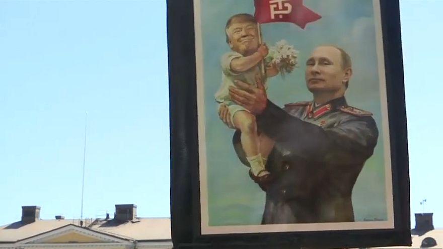 Protestos contra reunião de Trump e Putin na Finlândia