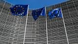 European Union flags outside the EU Commission headquarters in Brussels