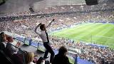Emmanuelle Macron celebrates a French goal