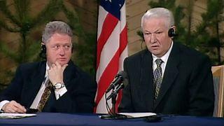 Bill Clinton et Boris Eltsine en mars 1997 à Helsinki