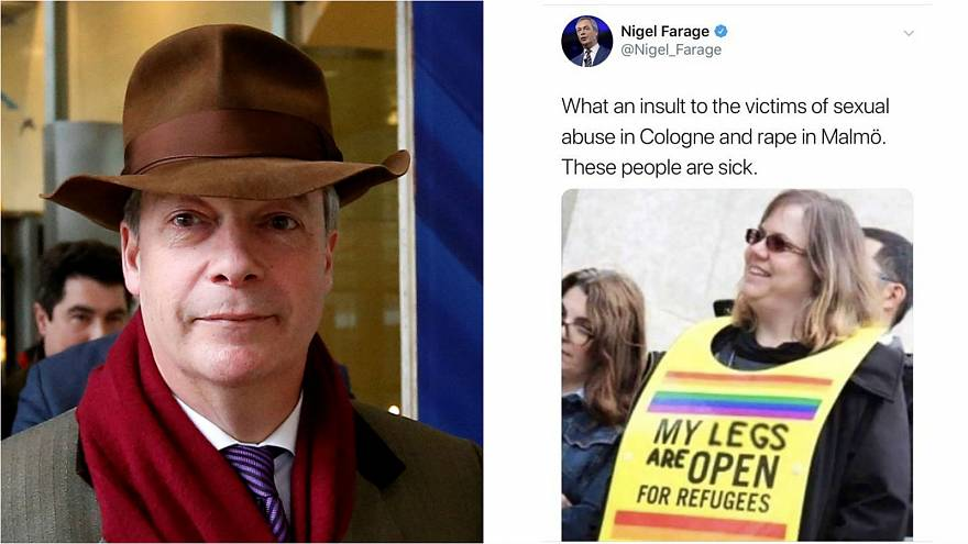 Farage tweets fake photo in attack on pro-refugee campaigners