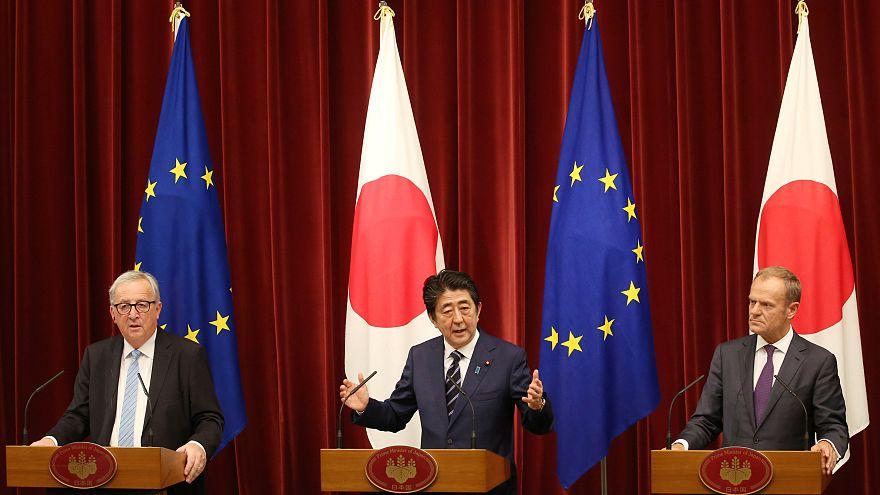 Az EU vezetői és Shinzo Abe japán kormányfő Tokióban