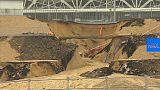 Las lluvias dañan el estadio de Volgogrado el día de la final del Mundial