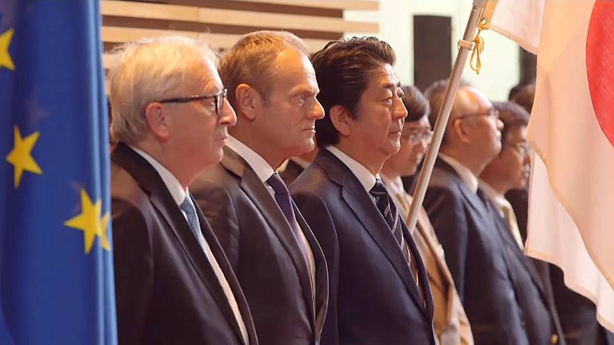 Leaders say EU-Japan pact protects workers