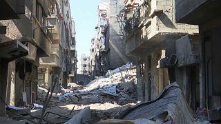 آثار الدمار في مخيم اليرموك