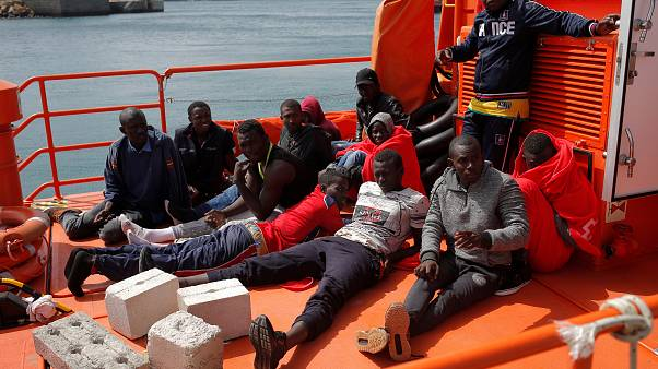 Migrants on a Spanish rescue boat