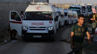 الإخبارية السورية: خروج كامل الحافلات من كفريا والفوعة لتصبح البلدتان خاليتين من المدنيين