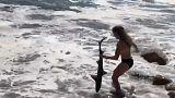 Mädchen trägt Hai mit bloßen Händen ins Wasser