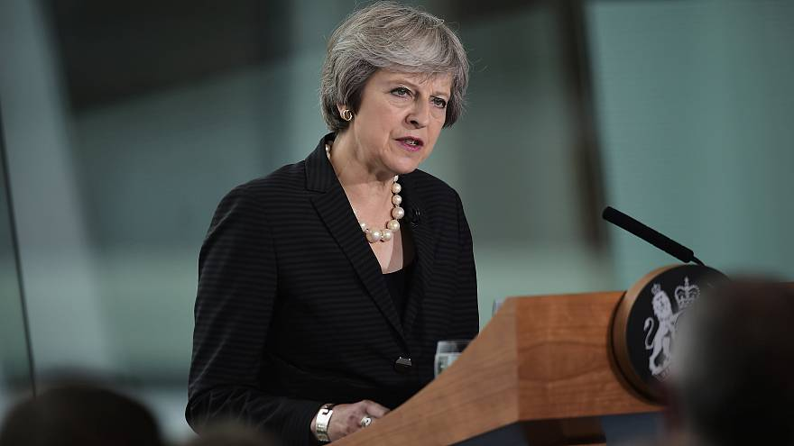 Theresa May in Belfast, Northern Ireland on July 20, 2018.