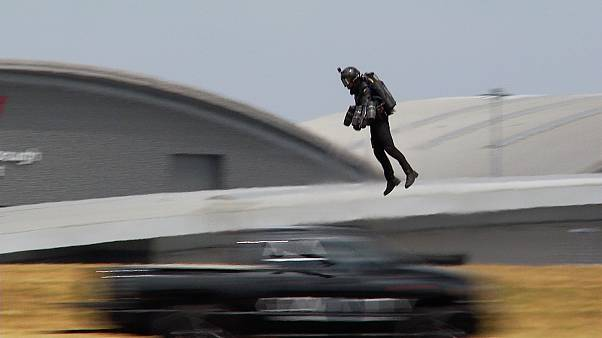 Real-life 'Iron Man' launches at airshow, days after £340k flying jet suit goes on sale
