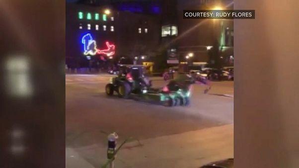 تعقیب و گریز یک تراکتور در خیابانهای دنور کلرادو از سوی پلیس آمریکا