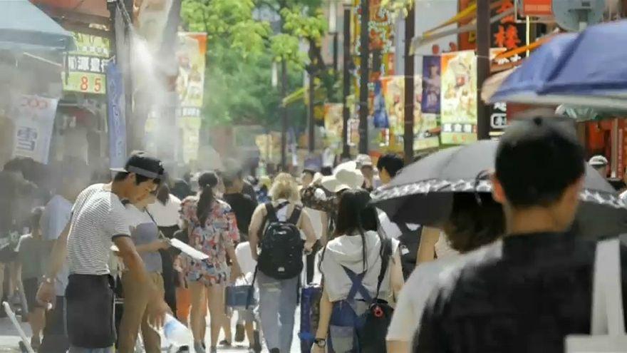 japonya, su döken insanlar, aşırı sıcaklar