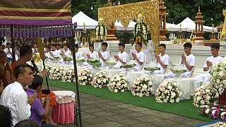 Thai cave boys take part in Buddhist ordination ceremony