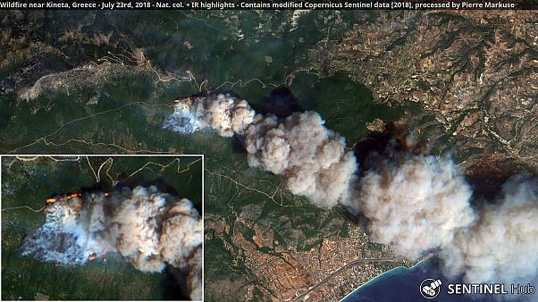 Greek wildfires: Satellite images show extent of the damage