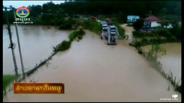 Tragedia al derrumbarse una presa en Laos