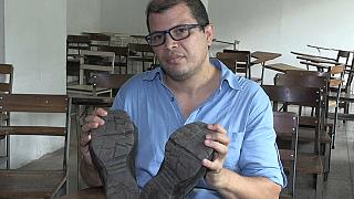 This university professor needs four months wages to repair his shoes