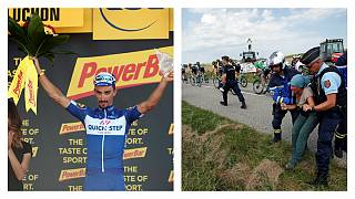 Tour de France: Alaphilippe wins on day of protest and pain