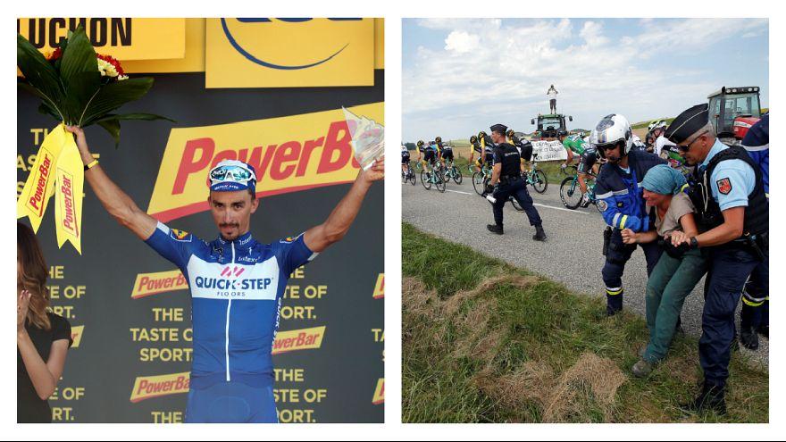 Tour: Julian Alaphilippe vence etapa afetada por protestos de agricultores