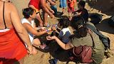 Italy: Holidaymakers and locals help rescue 56 migrants who arrive by boat
