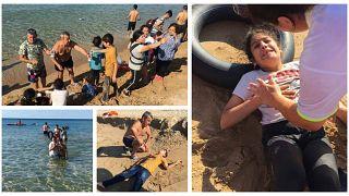 En imágenes: turistas ayudan a refugiados llegados a una playa italiana