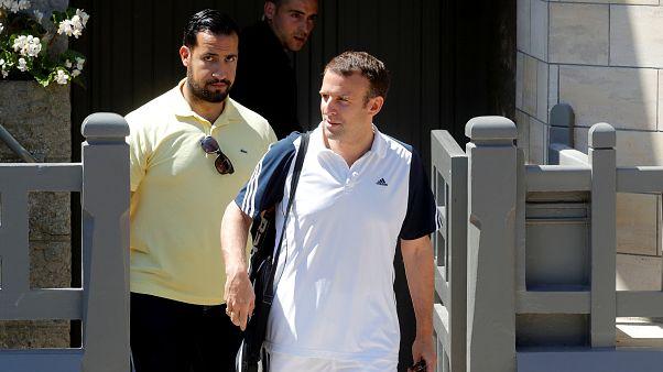 File photo of Emmanuel Macron and Alexandre Benalla