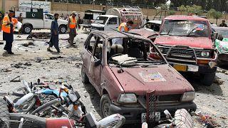 Bomb disposal unit surveys the bomb site in Quetta