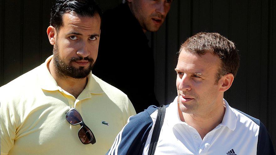 Archive. Alexandre Benalla accompagne le président français Emmanuel Macron