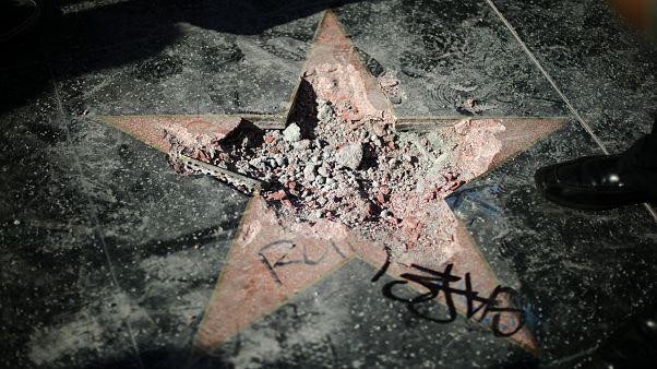 Der zerstörte Trump-Stern auf dem Hollywood Walk of Fame