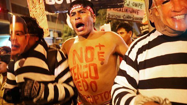 Protesto contra a corrupção em Lima, no Perú