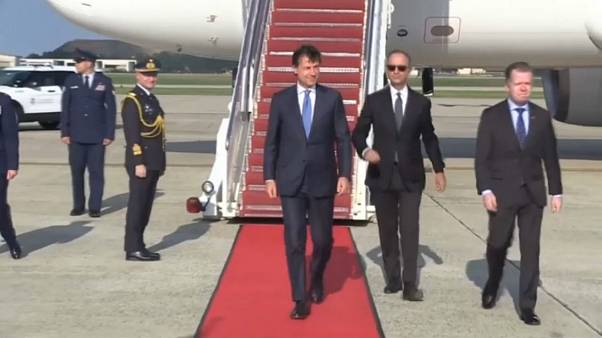 Italian Prime Minister Giuseppe Conte touches down in Maryland, U.S