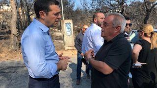 Alexis Tsipras visita as áreas mais afetadas pelos incêndios