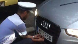 Police remove Razvan Stefanescu 's number plate